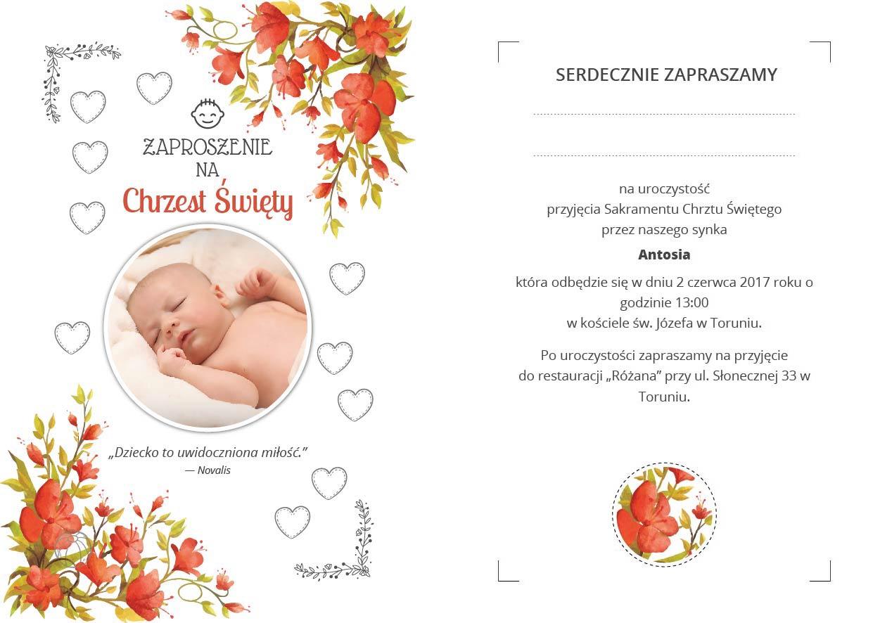 Nowoczesne Zaproszenia Na Chrzest Ze Zdjęciem 7173388549