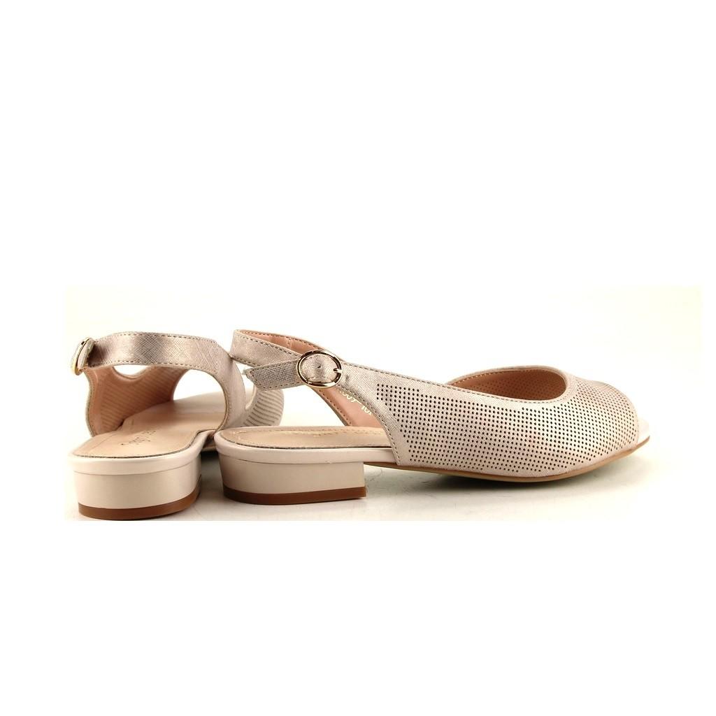 beżowe sandały na obcasie niskim sergio leone sk809 10p