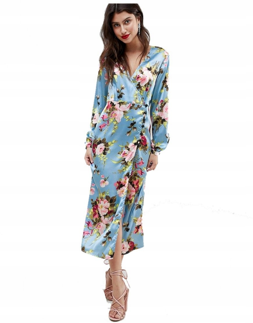 sukienka MIDI kolorowe kwiaty NIEBIESKA XXS 32 7460246393