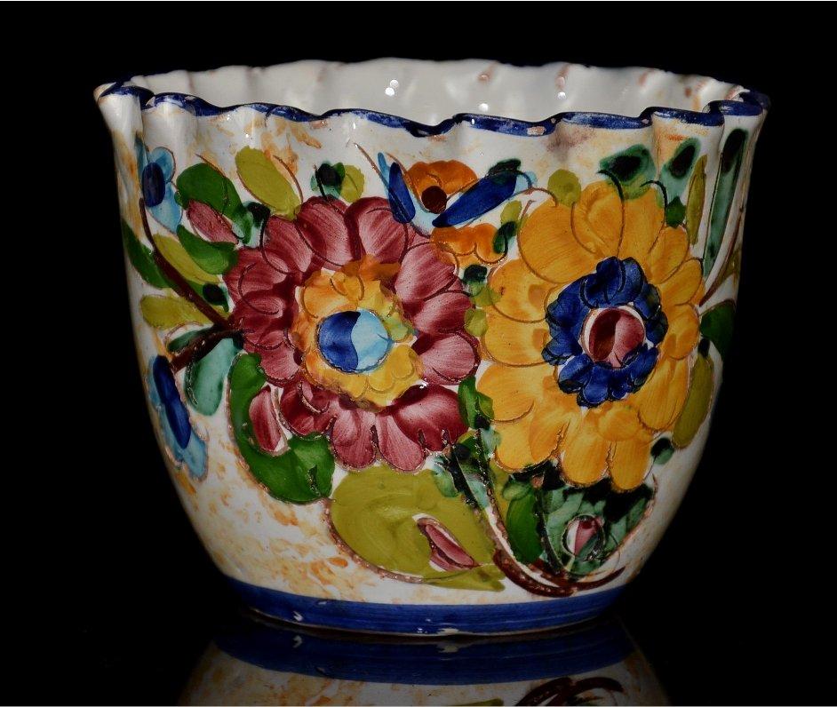 Włoska Ręcznie Malowana Ceramiczna Doniczka