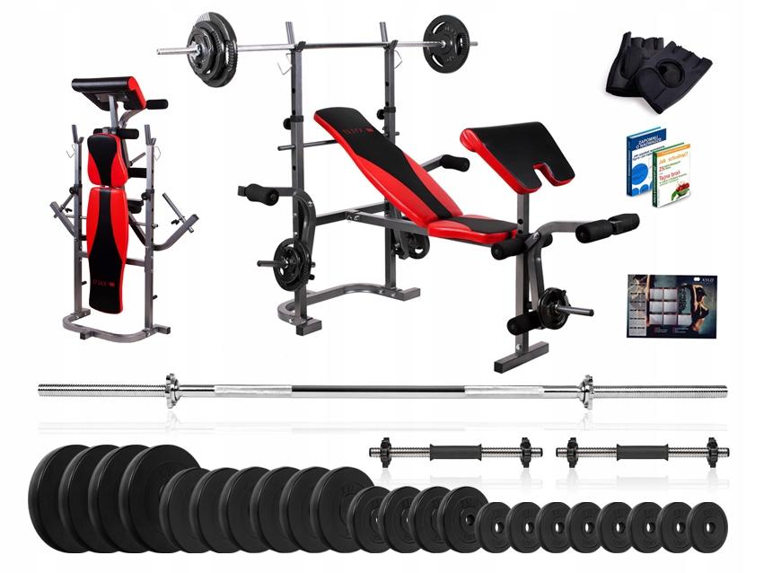 Modernistyczne Xylo siłownia 123 kg zestaw ŁAWKA+GRYFY+OBCIĄŻENIA - 7258426518 RF97