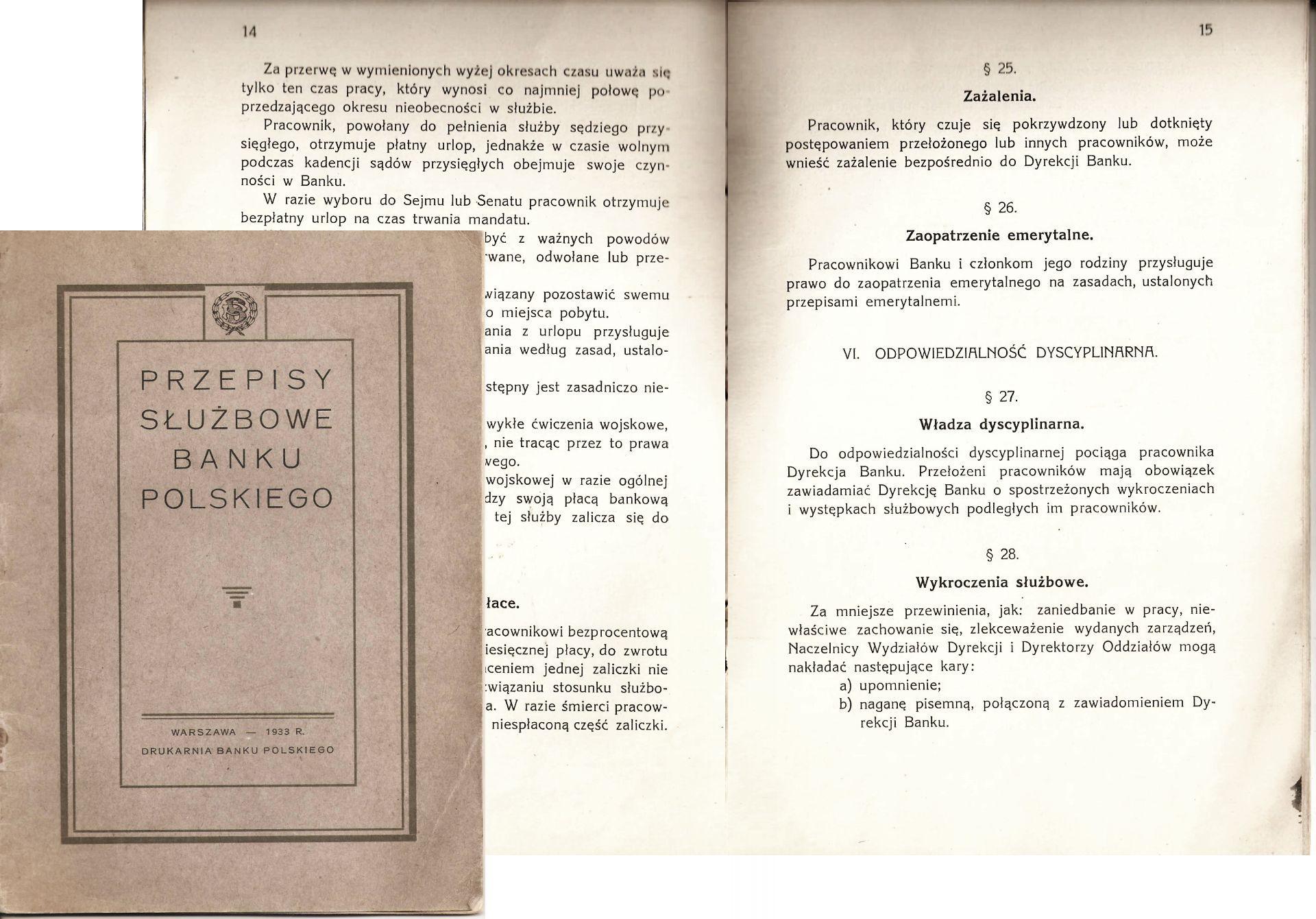 Przepisy służbowe Banku Polskiego 1933 Bank Polski