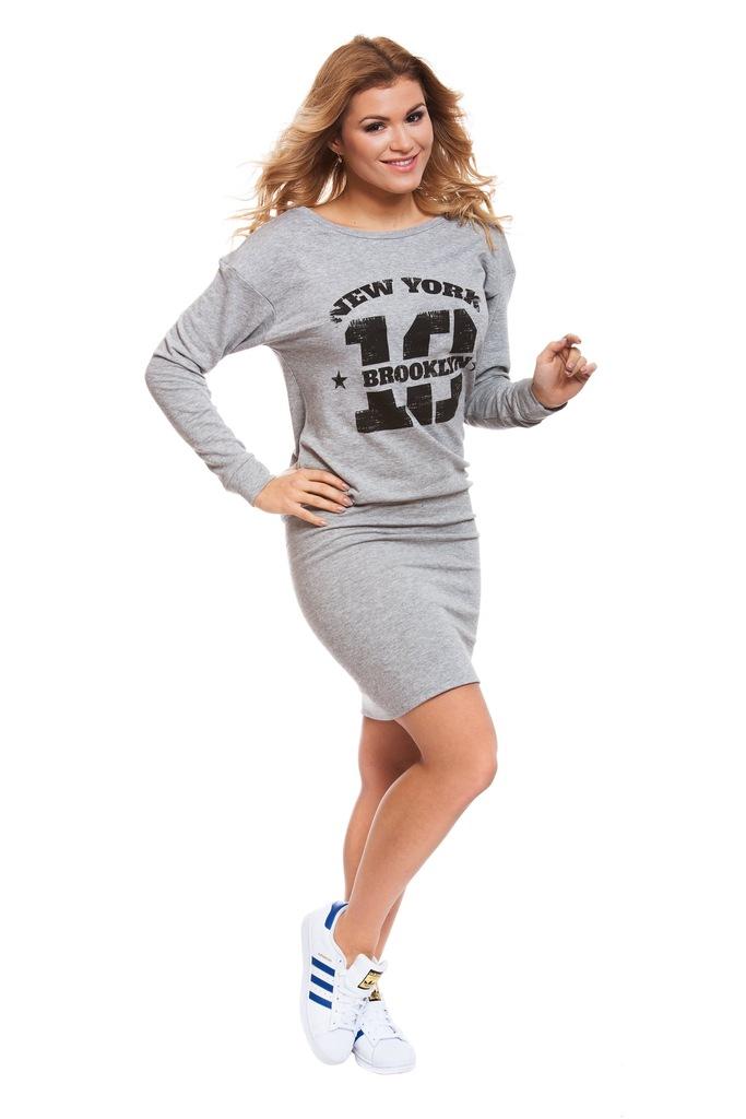 Sukienka ONLY JDYSTRIKE L/S PRINT DRESS JRS 15133709 jasny szary M