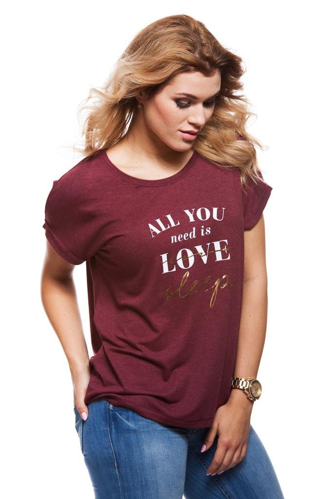 T-shirt VERO MODA VMDIDIE LOVE S/S T-SHIRT PRE 10175410 bordowy L