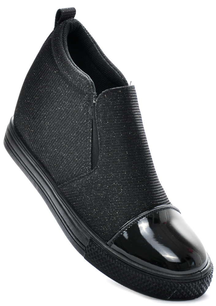 Wsuwane trampki sneakersy koturn CZARNE 1392 41