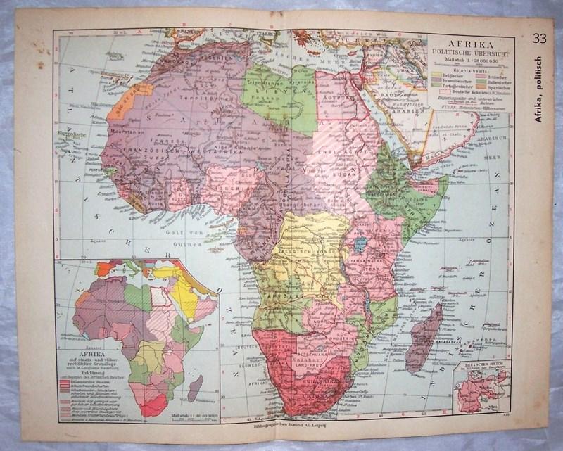 AFRYKA MAPA POLITYCZNA. 1935.