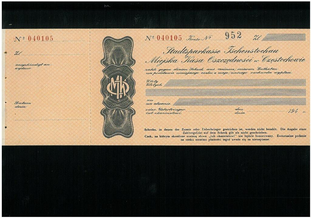 Czek MKO w Czestochowie (2) - Generalna Gubernia