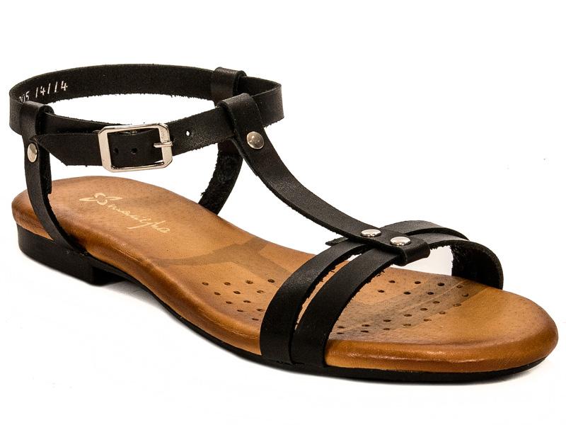 Sandały MACIEJKA r.40 skórzane czarne 03205 01