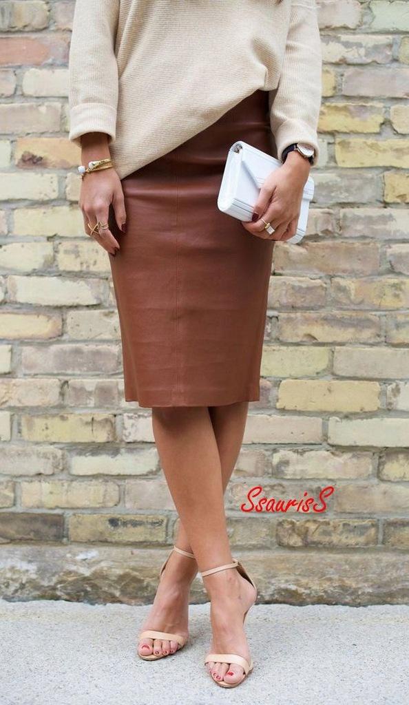 91 ZARA brązowa spódnica ołówkowa eko skóra NOWA M
