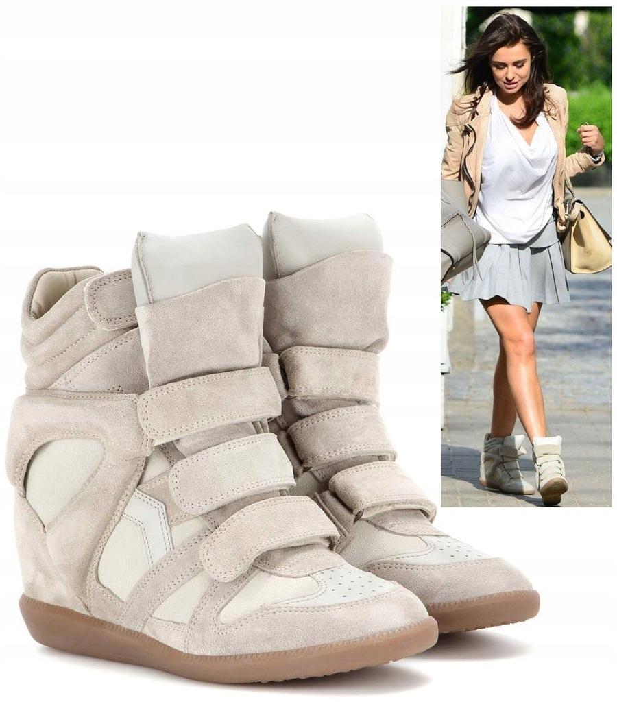 Oryginalne Sneakersy Isabel Marant Bekett Ecri R37 7588942579 Oficjalne Archiwum Allegro