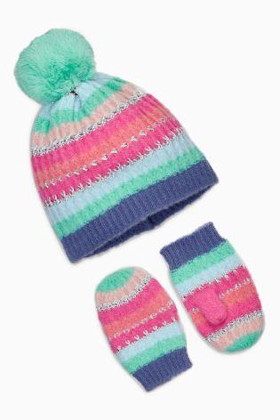 NEXT tęczowy komplet czapka rękawiczki 1-2l