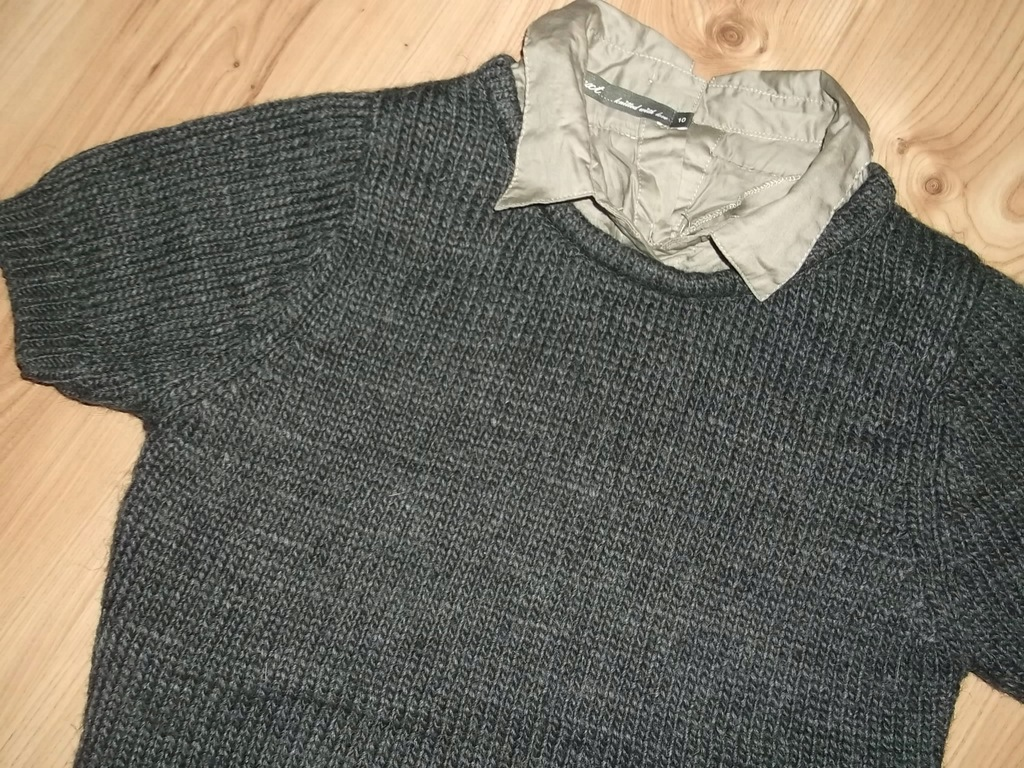 NEXT sweter 2w1 S36 GREY WEŁNA ALPAKA