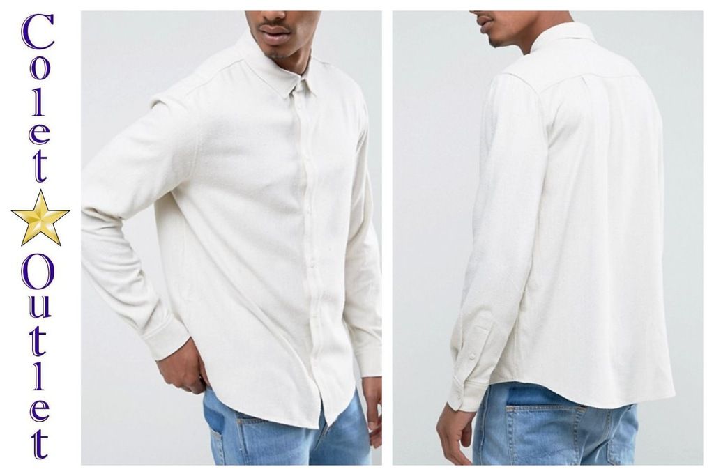 mt16 koszula jedwabna jedwab beżowa M
