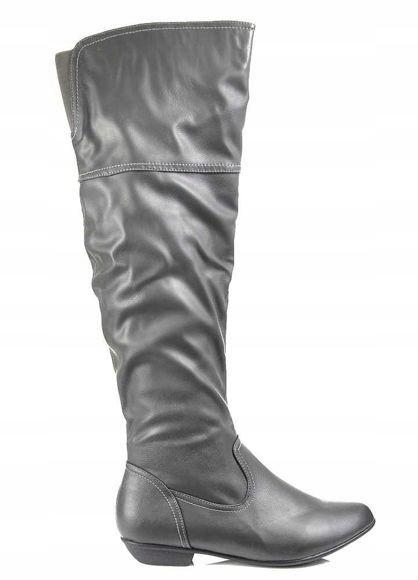 Kozaki damskie muszkieterki buty SZARE 2477 39