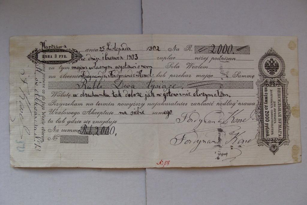 ZABÓR ROSYJSKI przedwojenny WEKSEL 2000 RUBLI 1900