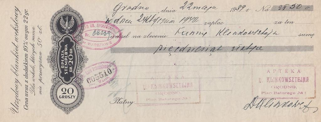 Grodno 1939 płatny 1940 JUDAIKA Weksel SIŁA WYŻSZA