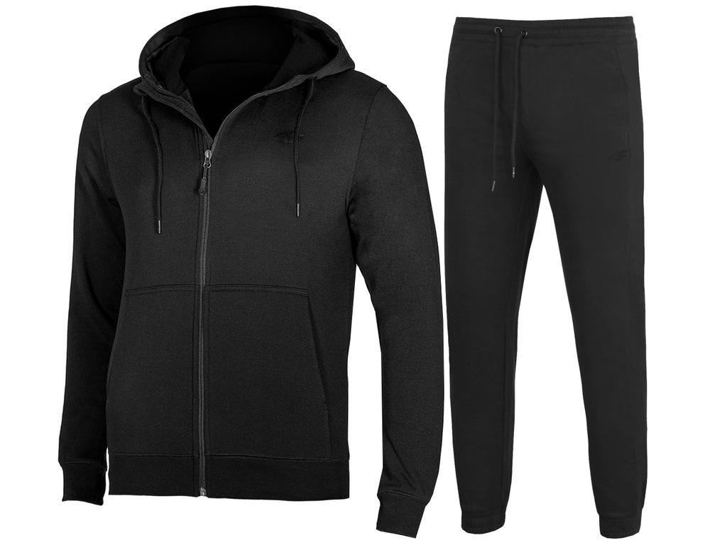 4F MĘSKIE Bluza Spodnie DRESY KOMPLET Czarne M