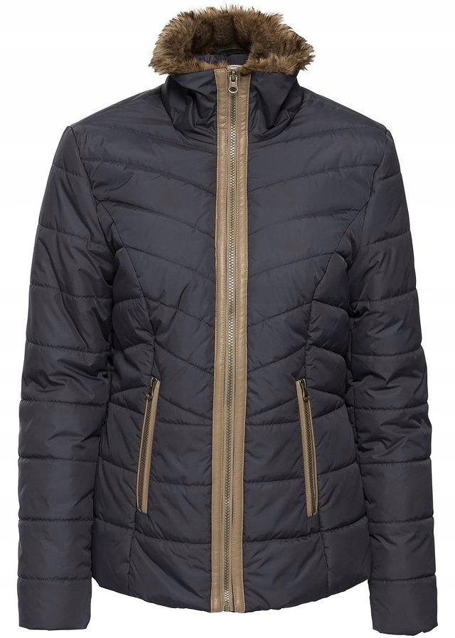 kurtka pikowana damska ze sztucznym futerkiem