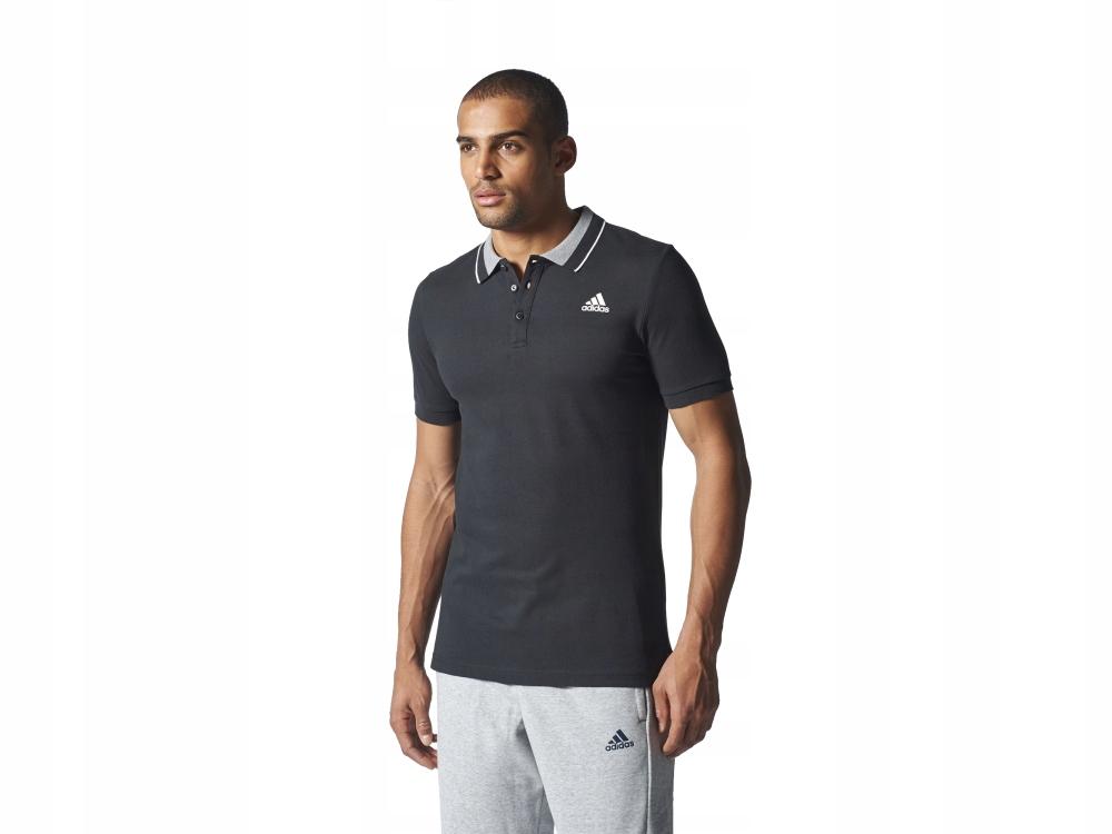 Męska koszulka polo czarna ADIDAS