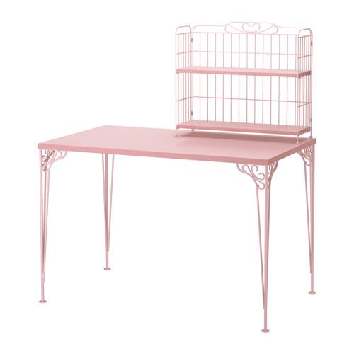 Ikea Biurko Falkhojden różowe z nadstawką i krzesło