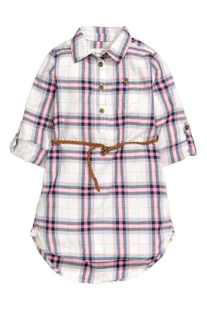 H&M koszula tunika pasek różowa kratka 116