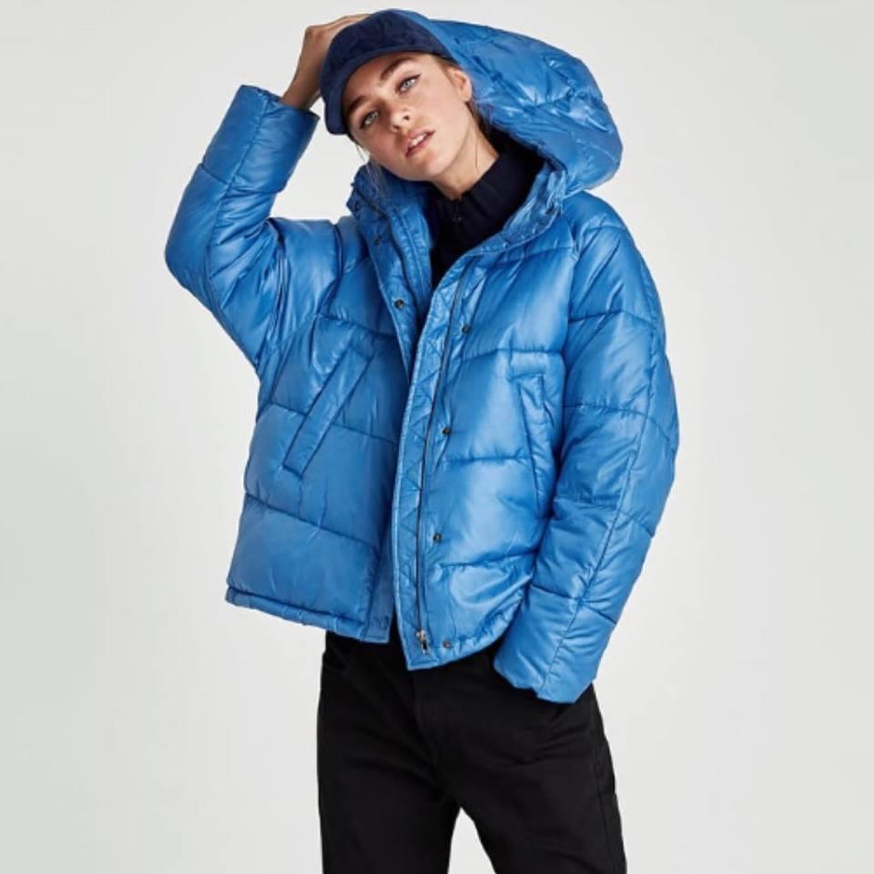 kurtka niebieska zara asymetryczna m l