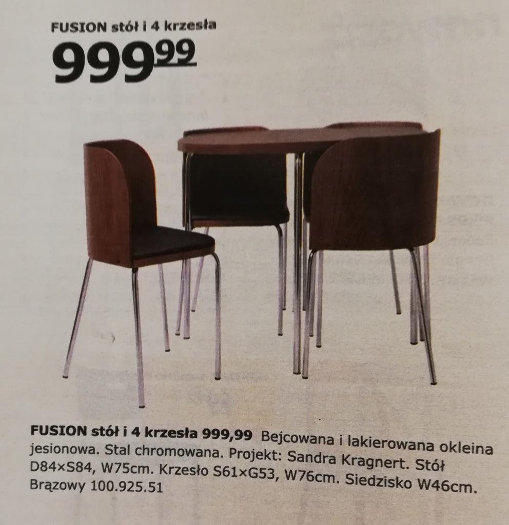 IKEA FUSION * STÓŁ + 4 KRZESŁA KOMPLET KRAKÓW 7641335520