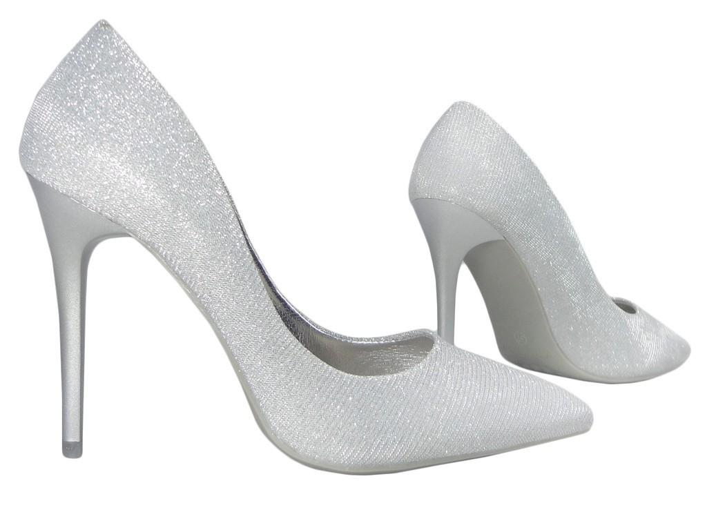 Srebrne szpilki smukłe buty damskie wysokie 36