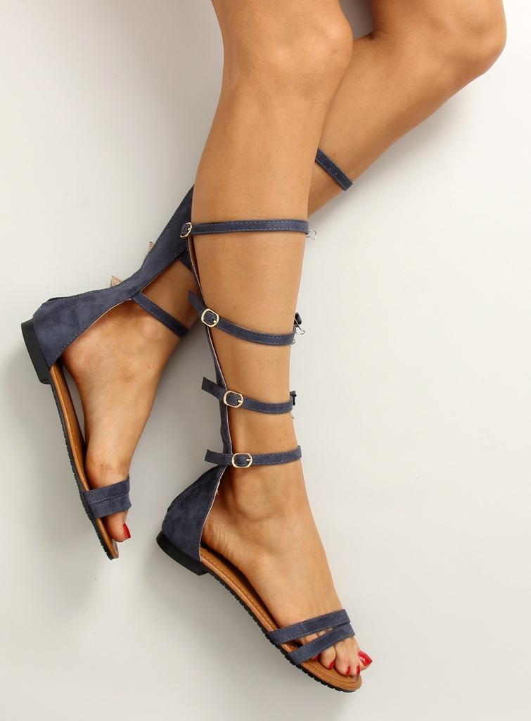 Gladiatorki rzymianki delikatne paseczki czarne | Sandały