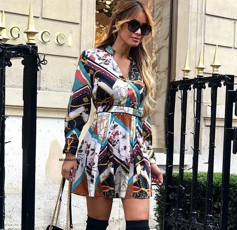 Luksusowa Sukienka Patchworkowa Łańcuchy ZARA S