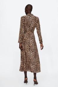 sukienka w zwierzęcy desen panterka 2019 zara z falbanka