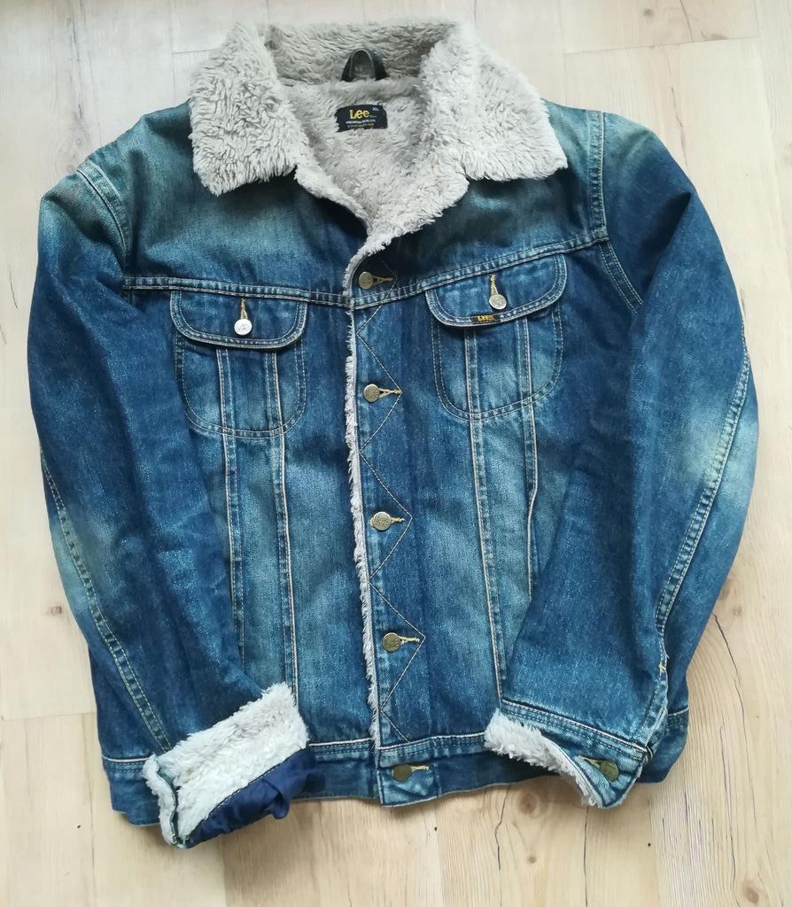 kurtka meska jeansowa z futerkiem xl rozmiar