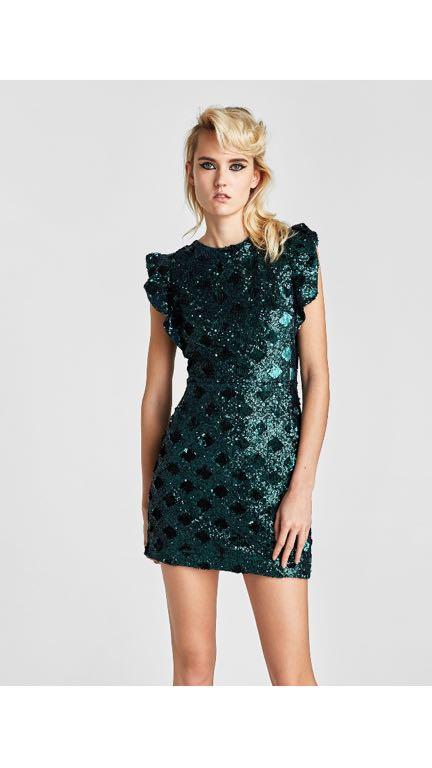 Zara zielona cekinowa sukienka S