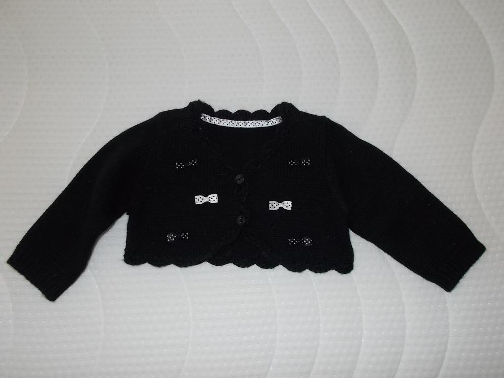 Sweterek czarny_GEORGE 3/6 mcy kokardki