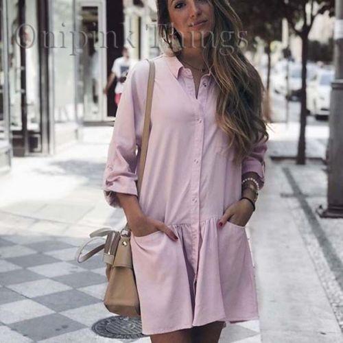 ZARA różowa koszulowa sukienka XL