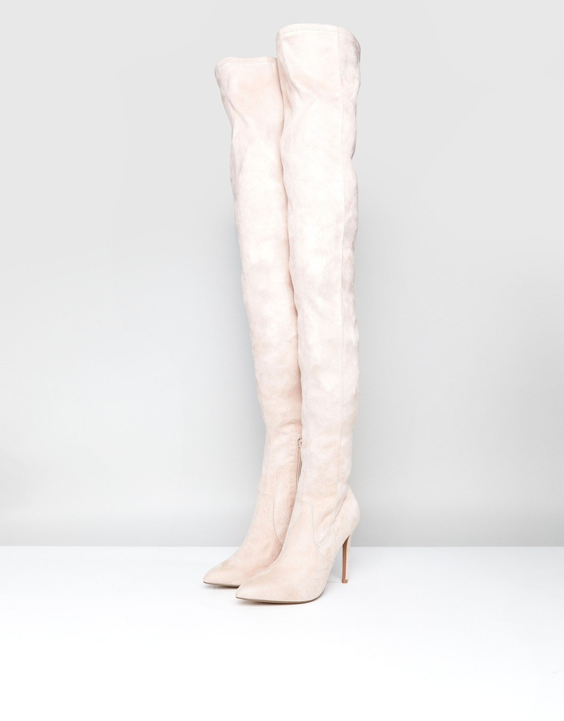 Beżowe zamszowe kozaki długie szpic 38
