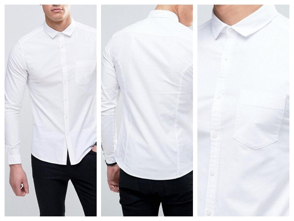 mk84 koszula męska biała skinny elegancka M