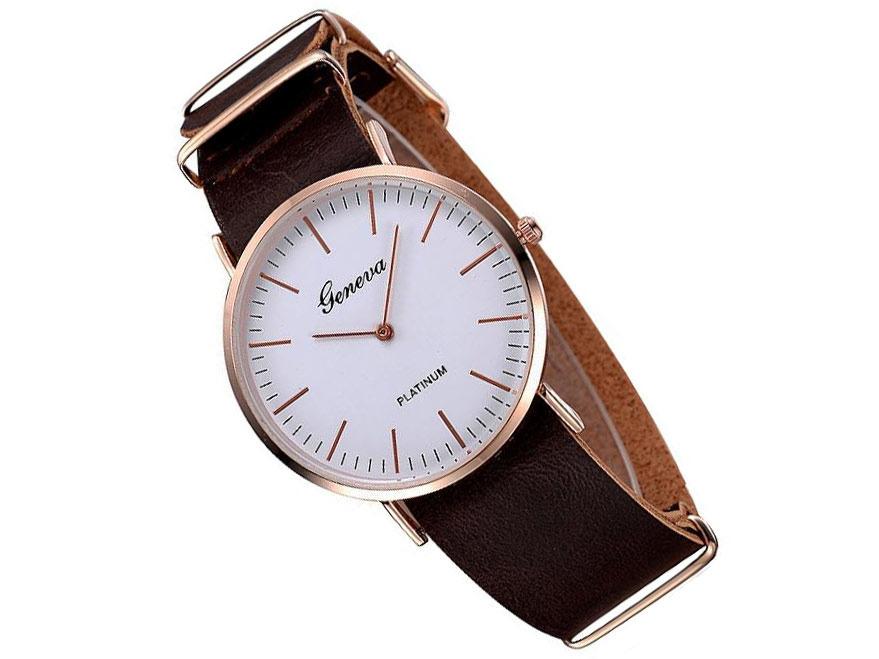 Zegarek damski męski Geneva brązowy