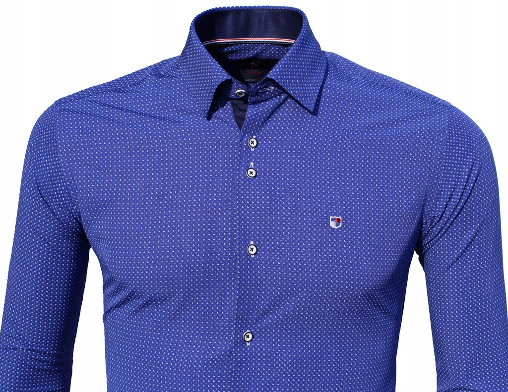 Koszula męska Slim szafirowa w drobny wzór wzory Długi