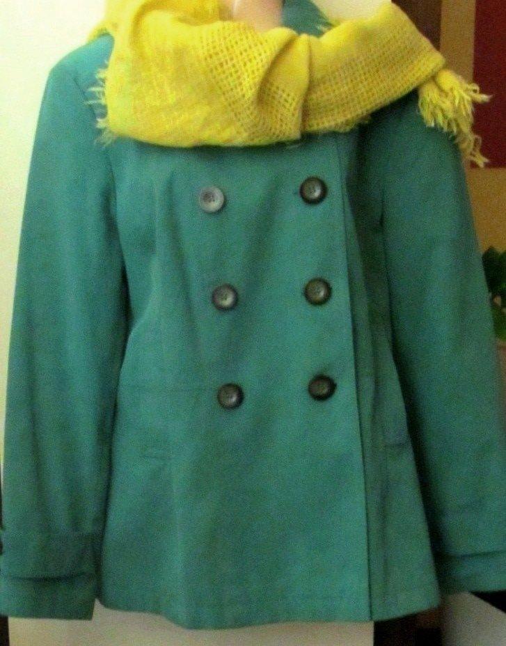 Płaszcz zielony wiosenny 42 XL+gratis chusta