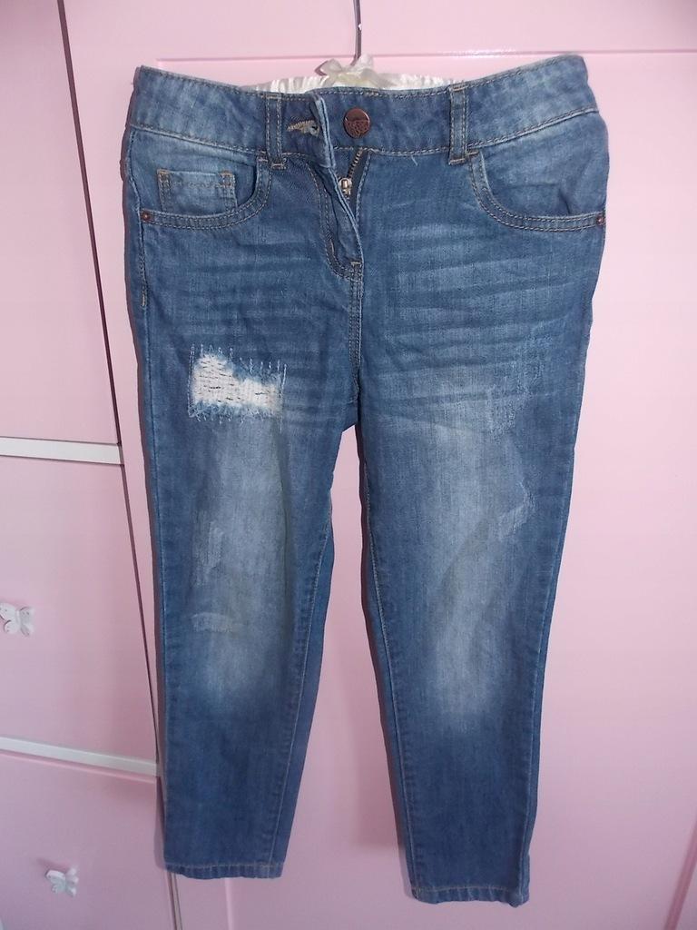 DZIURY jeans SKINNY rurki MODNE hit r.116 spodnie