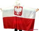 FLAGA POLSKI PELERYNA KIBICA Z KAPTUREM GODŁO !!!