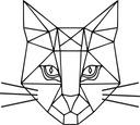 Naklejka na ścianę kot kotek wielokąty 50 cm