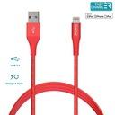 Kabel MFi z Lightning + klips + Aluminum 1m (Red)