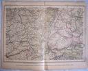 NIEMCY, FRANCJA. Mapa kolejowa.