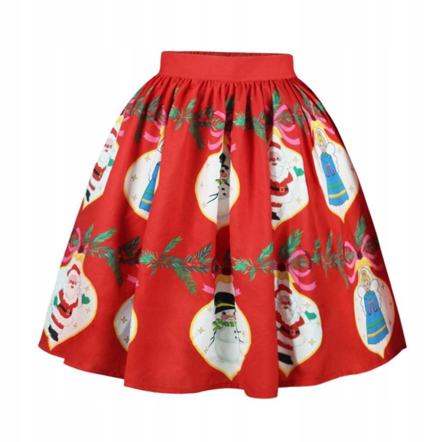 Rozkloszowana świąteczna spódnica midi zimowa