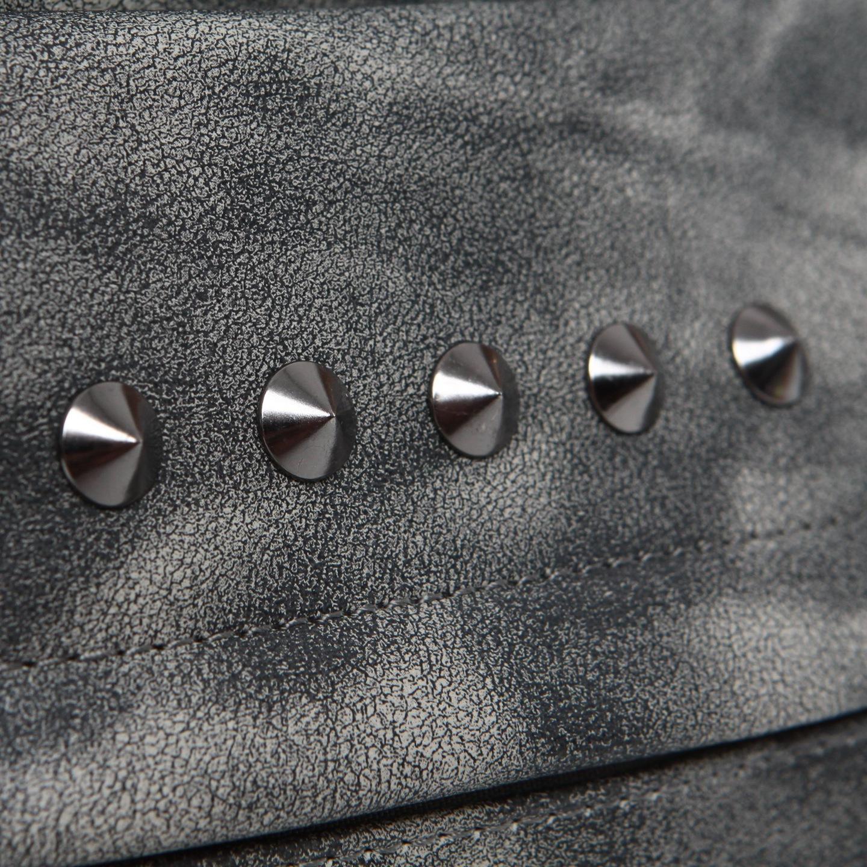 698a5316648ec Skórzany plecak damski SZARY markowy z ĆWIEKAMI 20GZ. Modny damski plecak w stylu  vintage ...