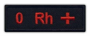 Полоса Группы Крови - Группа Ноль 0 Rh+ черная ВЫШИВКА доставка товаров из Польши и Allegro на русском