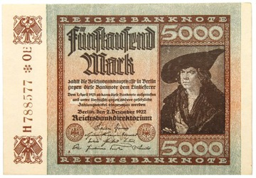 Германия - КУПЮРА - 5000 Марок 1922 ALBRECHT DURER доставка товаров из Польши и Allegro на русском