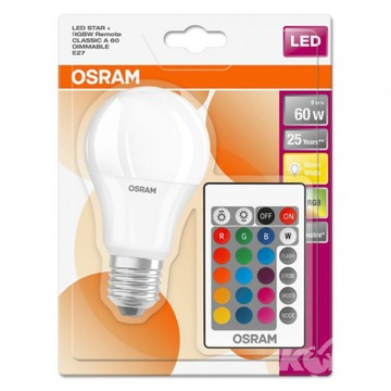 OSRAM LED STAR ЛАМПА RGB + ПУЛЬТ дистанционного управления 9W =60W E27 A60 доставка товаров из Польши и Allegro на русском